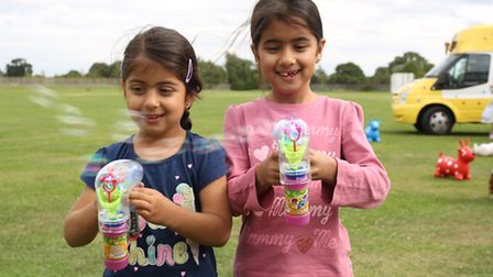 Aleesha Ali 4 and Isra Ali 7 at a fun day which was held at the Ford Centre in Ilford to raise mone