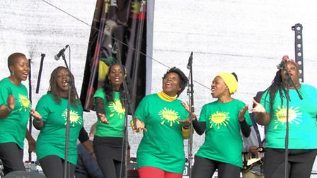 Newham's reggae choir on stage at the One Love festival in Milton Keynes