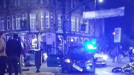 A car and motorbike were involved in the collision at the junction of Barking Road and High Street N
