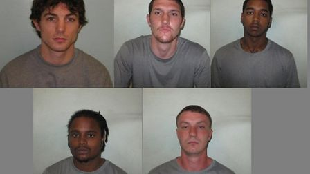 The gang of five were sentenced to 39 years between them (from top left: Rawlings, O'Brien, Kalychur