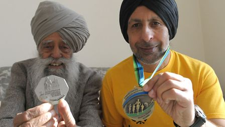 Fauja Singh has just finished his last competitive race in Hong Kong, Fauja Singh and his traine