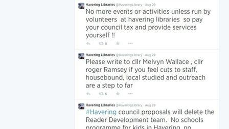 Screenshot of Havering Library service's twitter feed taken at 9am on September 1