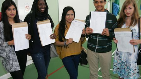 Royal Docks school students with their results