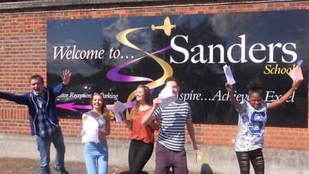 Pupils at Sanders School in Hornchurch celebrating their GCSE results