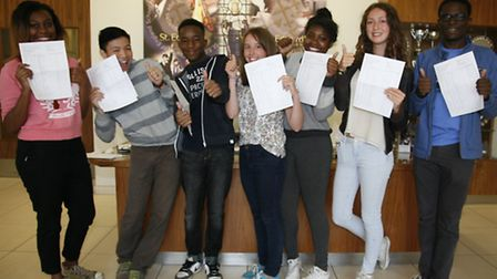 From left to right: Jezelle Smith-Thomas, 16, Samuel Quang, 16, Ladi Shobowale, 16, Laura Davenport,