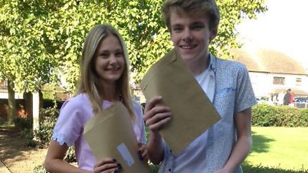 Marshalls Park School in Romford pupils Megan Olley and Conor Etherden celebrating their GCSE result