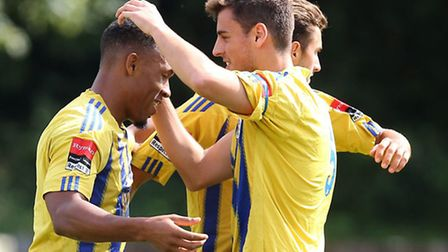 Ryan Imbert (left) was on target for Romford at Waltham Abbey (pic: Gavin Ellis/TGSPHOTO)