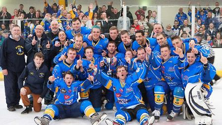 Mick Cahill celebrates on the ice with Raiders after a cup win at Chelmsford