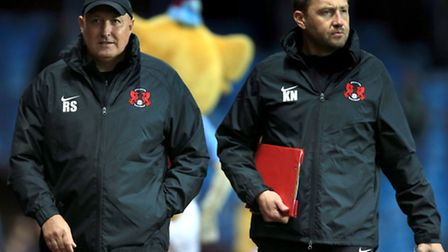 Leyton Orient Manager Russell Slade with coach Kevin Nugent (right) during their 1-0 Capital One Cup