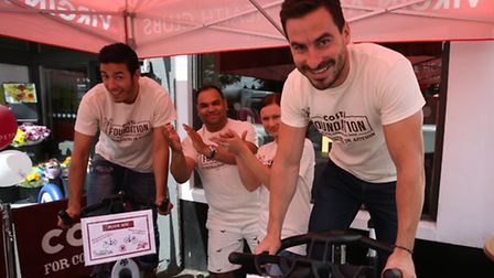 Costa staff at the event on Saturday. From left to right: Mohamed Boughaid (barista maestro) Rimon I