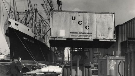 Early trials of container cargoes at No.4 berth, Royal Victoria Dock in 1964 Picture: PLA Collectio
