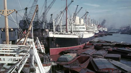 RMS Rangitiki is seen berthed at Number 29 Shed, Royal Albert Dock, circa.1955 Picture:PLA/Musuem of