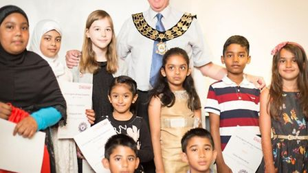 Young authors and illustrators were awarded certificates by Newham Mayor Sir Robin Wales