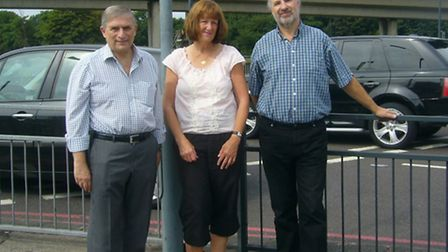 Lee Scott MP meets with RedRag campaigners Angela Shea and Alan Haymes at the roundabout