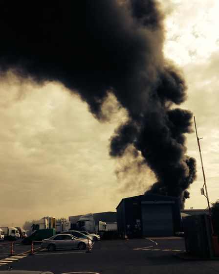 A fire is still alight at Shanks waste recycling plant in Creek Way, Rainham, around seven hours aft