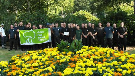 City of London Cemetery staff celebrate with the Green Flag