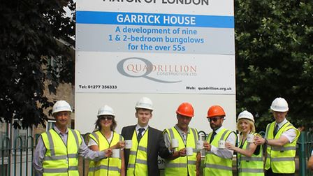 Cllr Damian White toasts the start of work with builders' favourite, a cup of tea