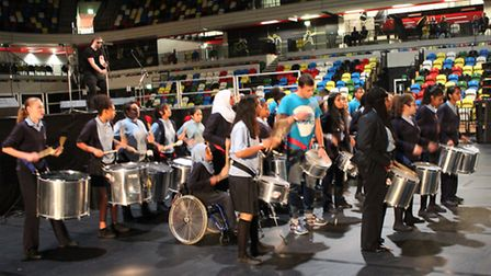 Students from Sarah Bonnell School perform at the Copper Box Arena during the festival