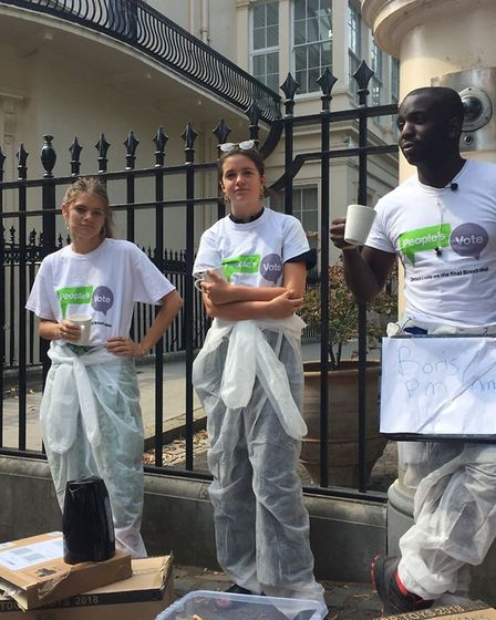 OFOC campaigners outside Boris Johnson's ministerial home, offering him a help to leave his residenc