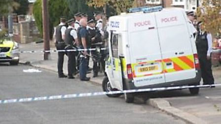 Police cordoned off Gresham Drive after a man was stabbed