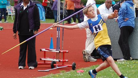 Havering youngster Max Law in javelin action (pic: Jo Law)
