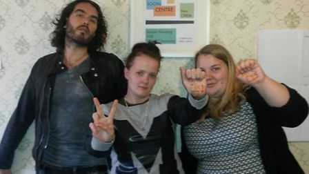 Russell Brand with Focus E15 mums Jasmin Stone (right) and Sam Middleton (centre)