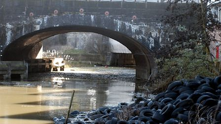 Car tryes dumped in the City Mill River, Bow, in 2007 give an idea of the state of the waterways bef