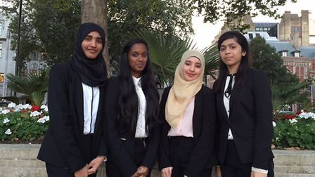 The former Plashet students who made exceptional progress are pictured left to right, Maha Nadeem, V