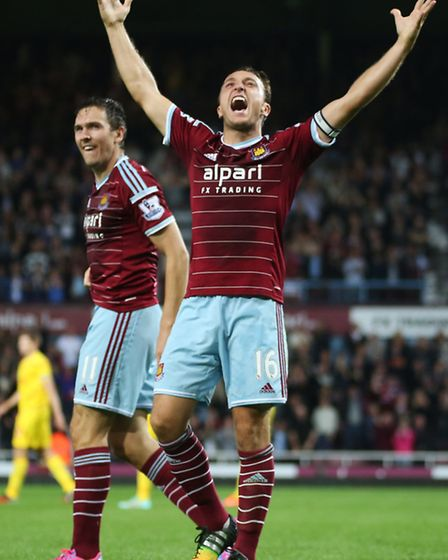 West Ham United v Liverpool. Mark Noble shouts of exciment to celebrates the third goal and victory