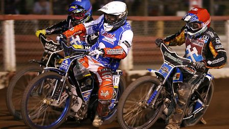 Peter Kildemand (white), Danny King (red) and Lewis Bridger (blue) in action during the re-run of he