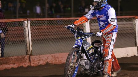 Peter Kildemand of Poole is furious after being beaten in Heat 15 and looks up at the referee. Pic: