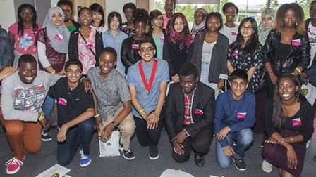 Young people on Newham Youth Council's enterprise scheme with Newham's Young Mayor and staff from HS