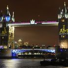 "The ""I Am"" symbol of the Invictus Games lights up Tower Bridge marking a week to go until the tourna"
