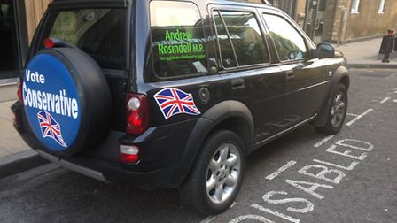 Andrew Rosindell MP car was pictured in a disabled bay. Picture: Daily Mirror