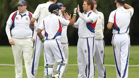 Hornchurch Athletic players celebrate a wicket against Brookweald (pic: Gavin Ellis/TGSPHOTO)
