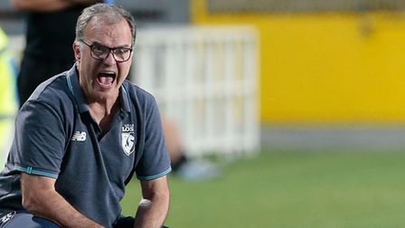 LOSC Lille coach Marcelo Bielsa shouts to his players during the pre-season friendly match between A