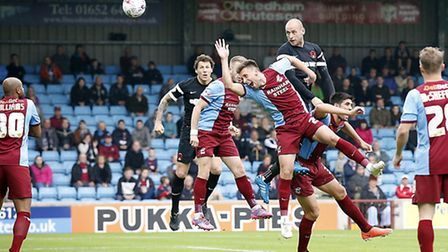 O's Scott Cuthbert opens the scoring for Leyton Orient at Scunthorpe United. Pic: Simon O'Connor