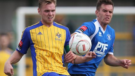 Jack Barry in action for Romford against Bury Town (pic: Gavin Ellis/TGSPHOTO)