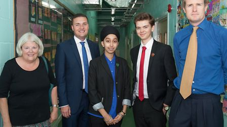 Cllr Elaine Norman, cabinet member for children and young people, Wes Streeting, head girl Gurpreet