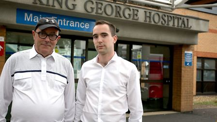 Craig Rowley and his father Roger outside King George Hospital, Goodmayes (Picture: Ellie Hoskins)