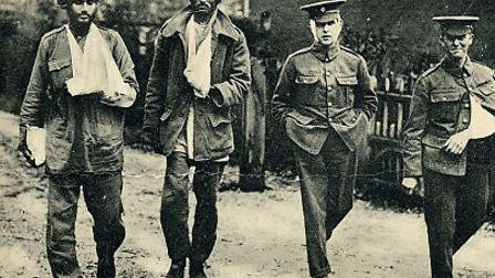 Sikh and British wounded recovering from injuries sustained in the front line, pictured in Southampt