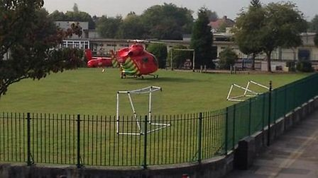 The air ambulance landed at Parkhill Infants School following reports of a stabbing