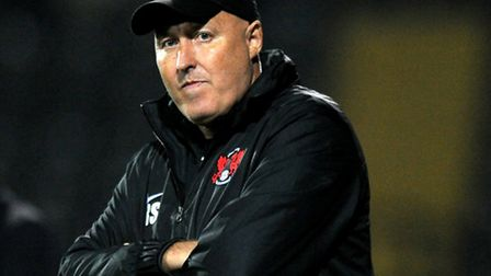 Leyton Orient manager Russell Slade looks on at Meadow Lane (pic: Tim Goode/EMPICS)