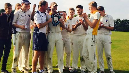 Shenfield High's under-19s celebrate winning the Essex Cup to complete a second successive county tr