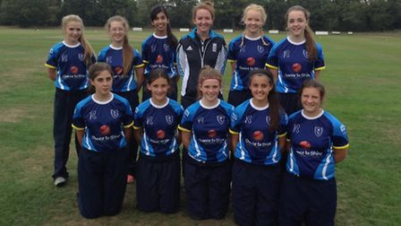 Shenfield High's under-13 girls with England international Kate Cross after winning National and Ess