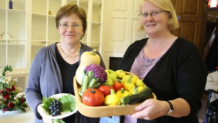 Helen Coomb and Catherine Rowan who got first place in domestic and garden displays at the Ilford Ho