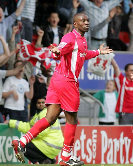 Jabo Ibehre scoring in his final game for the O's against Bristol Rovers in 2008. Pic: Simon O'Conno