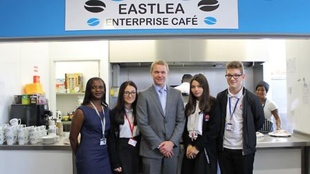 Pictured at the opening of the cafe are, left to right, Chinye Jibunoh – Principal, Ali-Elena Nawar