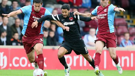 Jobi McAnuff goes on the attack againstScunthorpe (pic: Simon O'Connor)