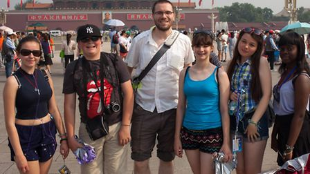 Pictured during the trip are Hazel Jasper, Fred Gay, Ben Moss, Amy Bright, Chloe White and JJ Banko